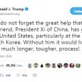 Trump: Optimistic on Korea, lauds Xi Jinping's 'great help'